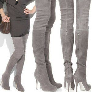 BRIAN ATWOOD SUEDE Leather Thigh High Boot Taupe